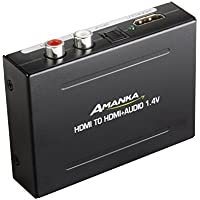 Amanka 4K x 2K HDMI to HDMI and Optical TOSLINK SPDIF + R L Stereo Audio Extractor Converter HDMI Audio Splitter Adapter(HDMI Input, HDMI + Digital / Analog Audio Output)
