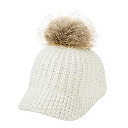 Knitted Baby Hat Pompom Winter Cap for Kids Adjustable Solid Hat Children Cap for 2-5 Years 1Pc ()
