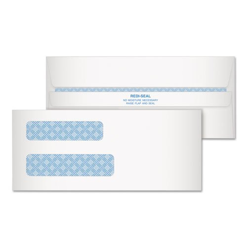 Redi-Strip Security Tinted Envelope, Contemporary, #8, White, 500/Box, Sold as 1 (Security Tinted Redi Strip)