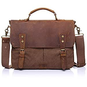 aaa230ef84c Image Unavailable. Image not available for. Color  ONEB Mens Messenger Bag  Canvas Leather Computer Laptop Bag 14- Inch Briefcase Case Vintage Retro