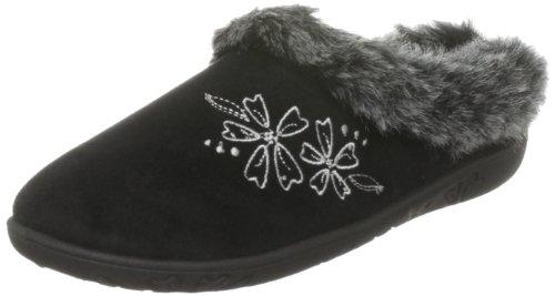 Padders Anika - Zapatillas de casa de tela para mujer Negro