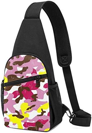 ボディ肩掛け 斜め掛け ピンクの迷彩 ショルダーバッグ ワンショルダーバッグ メンズ 軽量 大容量 多機能レジャーバックパック