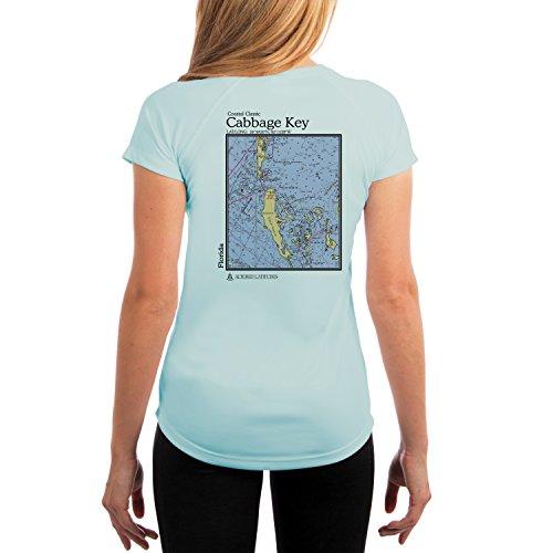 Altered Latitudes Coastal Classics Cabbage Key Chart Women's UPF 50+ Short Sleeve T-Shirt XX-Large Arctic Blue