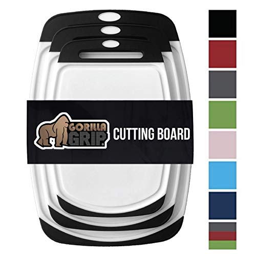 3 Piece Wood Cutting Board - Gorilla Grip Original Reversible Cutting Board (3-Piece) BPA Free, Dishwasher Safe, Juice Grooves, Larger Thicker Boards, Easy Grip Handle, Non Porous, Extra Large, Kitchen (Set of Three: Black)