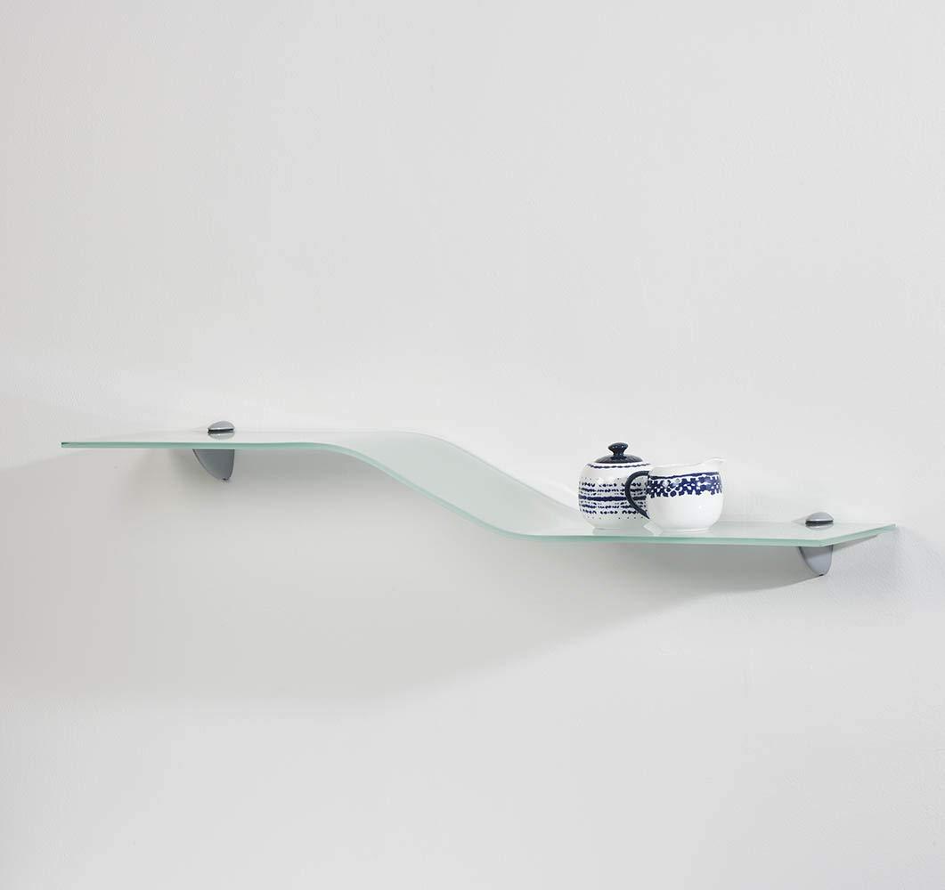 """Wallscapes GLWAVEOPKIT Allure 8"""" x 40"""" x 5/16"""" Opaque Glass Wave Shelf"""