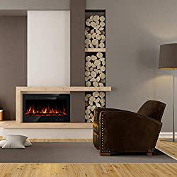 Electric Fireplace, in Wall Recessed & Wall Mounted LED Heater, Log Set & Crystal, 5 Flame Settings, Realistic 9 Color Flame, Touch Screen, Remote Control, 750/1500W, Black from US PIEDLE