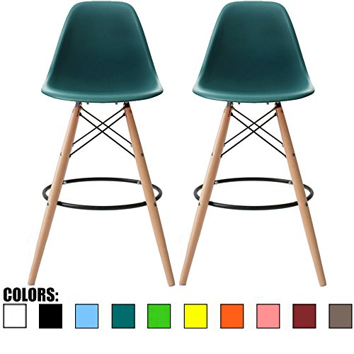 "2xhome - Set of Two (2) - Teal - 25"" Seat Height Eames Chair Style DSW Molded Plastic Bar Stool Modern Barstool Counter Stools with backs and armless Natural Legs Wood Eiffel Legs Dowel-Leg"