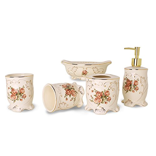 YALONG 5-Piece Red Rose Floral Ceramic Bathroom Accessory Set, Includes Soap/Lotion Dispenser, Toothbrush Holder, Tumbler, and Soap Dish