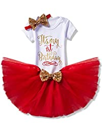 NNJXD Girl Newborn It's My 1st Birthday 3 Pcs Outfits Romper+Skirt+Headband