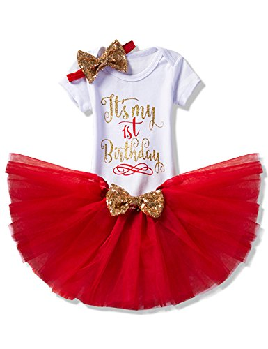 NNJXD Girl Newborn It's My 1st Birthday 3 Pcs Outfits Romper+Skirt+Headband Size (1) 1 Years (Red Outfit)