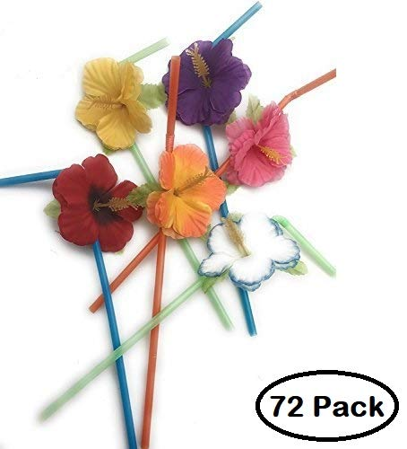 Hibiscus Flower Bendable Straws ( Pack of 72 (Hibiscus Flower Straws)