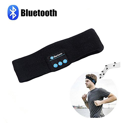 Repokevin Bluetooth Headband Headphones for Sport Running Yoga Wireless Stereo Sleep Headset with Mic Black for Man Woman Christmas Day Gift Present (Black)