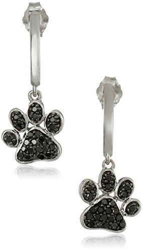 Sterling Silver Black Diamond Dog Paw Earrings (3/8 cttw) by Amazon Collection