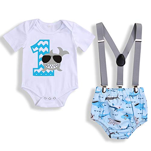 Baby Birthday Shark Clothes Baby Boy Girl Short Sleeve Bodysuit and Cake Smash Outfits (Blue - D, 9-15 Months) (Best Birthday Cakes For Boys)