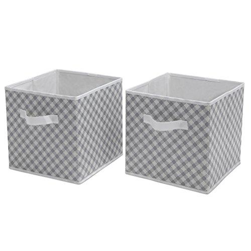Delta Children Deluxe 2 Storage Water-Resistant Cubes, Gingham/Grey