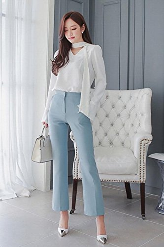 33fb0f2438f3e4 Korean version fall two-piece casual career V-neck long-sleeved shirt wide
