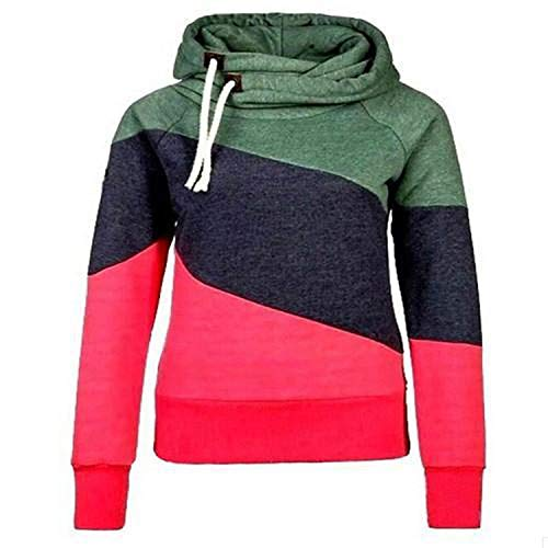 - Ladies Hooded Sweatshirt Long Sleeve Hoodies for Women Striped Women Plus Size Coat,red,L
