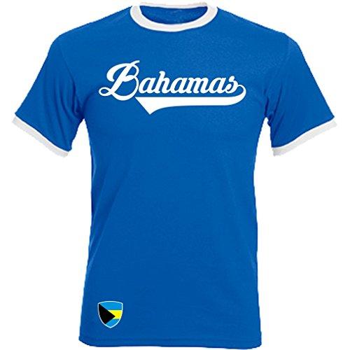 Bahamas - Ringer Retro TS - Blau - WM 2018 T-Shirt Trikot Look