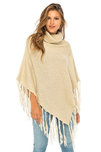 Back From Bali Womens Knit Fringed Poncho Boho Sweater Cape with Cowl Neck Soft Boho Winter Shawl Natural