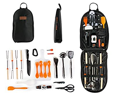 Camping Cooking Utensil Organizer Travel Set: 20 Piece Portable Camp Kitchen Utensil Travel Kit