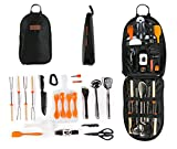 Camping Cooking Utensil Organizer Travel Set: 21 Piece Portable Camp Kitchen Utensil Travel Kit