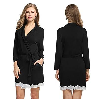 CNlinkco Women Sleep Robe, Women's Sexy Knee Length Lace-Trimmed Soft Bathrobe Sleepwear