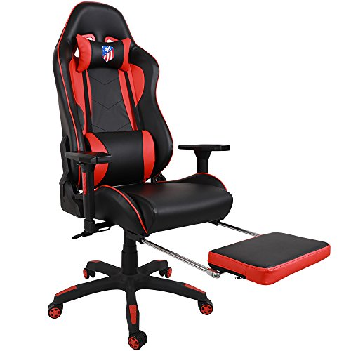 Kinsal Ergonomic High-back Large Size Gaming Chair, Office Desk Chair Swivel Red PC Gaming Chair with Extra Soft Headrest, Massage Lumbar Support and Retractible Footrest (Red)
