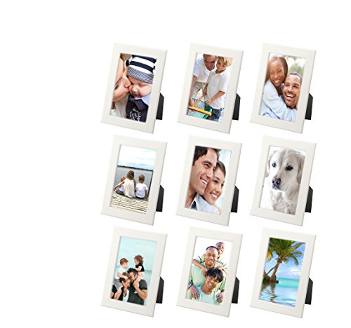 IKEA Picture Frame, Photo Collage, IKEA White Picture Frames For Wall or Desk, SET INCLUDES WALL HOOKS, (Family Portrait Pack - Collage of 9 Small Frames)