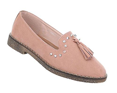 Schuhcity24 Damen Schuhe Halbschuhe Slipper Altrosa