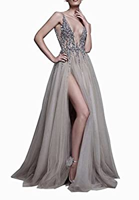 HONGFUYU Sexy Gray Prom Dresses With Deep V Neck Sequins Tulle and Lace Sex High Split Long Evening Dress Party Dresses