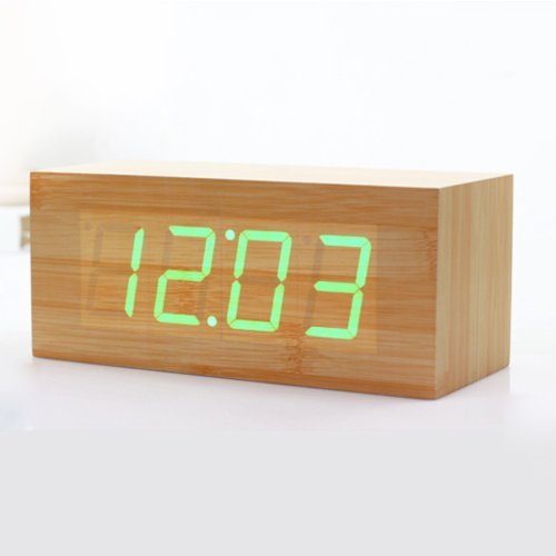 HITO™ Wood Grain LED Alarm Clock - Time Temperature Date - Sound Control - Latest Generation (Green, 8.27