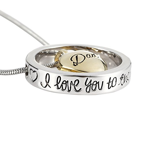 Mom&Dad&Grandma&Grandpa&Aunt&Uncle I Love You to the Moon and Back Cremation Urn Necklace Screw Opens and Lock Ashes Pendant Jewelry