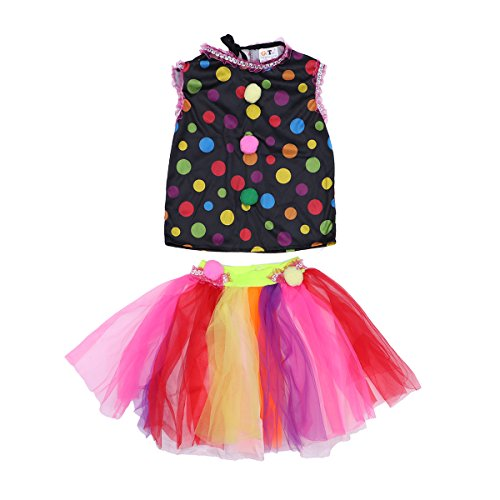 BESTOYARD Halloween Costumes Kids Circus Clown Costume Naughty Harlequin Fancy Fantasia Cosplay Clothing for Girls(L) -