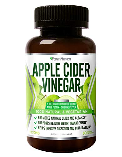 Support Apples Organic (Organic Apple Cider Vinegar Capsules With Cayenne Pepper & Probiotics - 1330mg - Natural Weight Loss, Detox, Cleanse, Diet Support - Like Raw Unfiltered ACV With Mother - Non-GMO - 60 Veg Capsules)