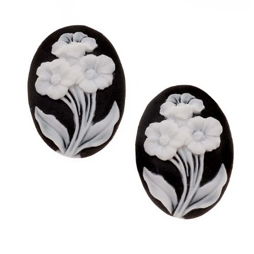 Beadaholique Lucite Oval Cameo Black with 3 White Flowers 25x18mm (2 Pieces)