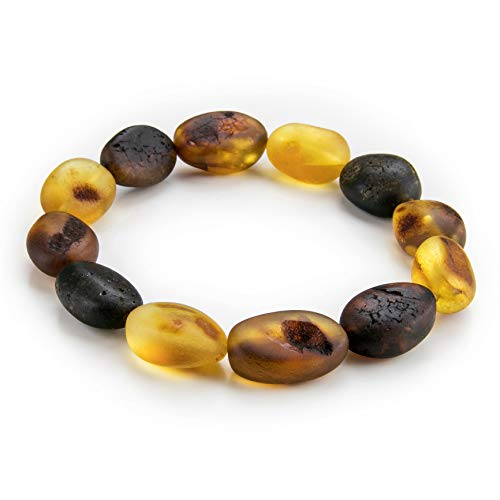 Baltic Amber Beans Stretch Bracelet in a Luxury Gift Box by Amber Culture | Natural Mix Color 10+ mm Beans, Men, Women and Children (Unisex) B24