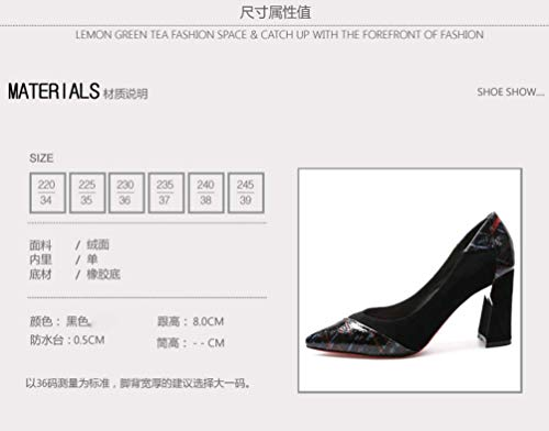 Fashion SFSYDDY Autumn Sharp Heel Joker Colors Head And 8Cm High Shallow Heel Black Rough Shoes Spring Shoes wwxFr47q