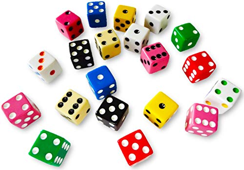 - Discount Learning Supplies 20 Assorted Dice 10 Colors 16 mm - Great for Gaming Casino Night - Brought to You by DLS