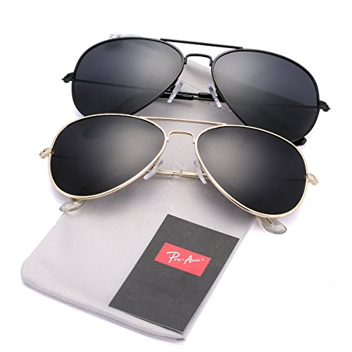 Pro Acme Classic Polarized Aviator Sunglasses for Men and Women UV400 Protection (2 Pairs) Gold Frame/Black Lens + Black Frame/Black - Men Sunglasses 2 For