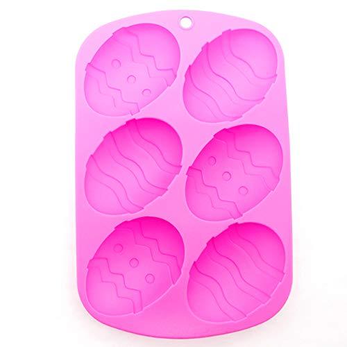 MoGist 6 Fori Fondente Uovo Torta Silicone Rosa DIY Pasqua Stampo Fatto a Mano Sapone utensile da Forno 1 Pezzi