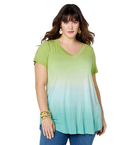 (Avenue Women's Dip Dye Cold Shoulder Tunic, 30/32 Green)