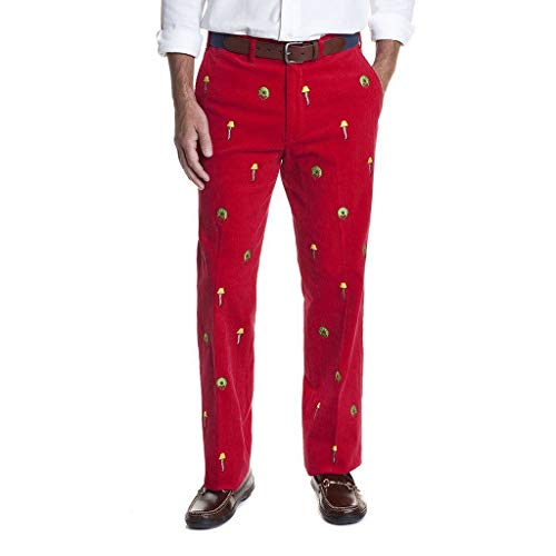 Castaway Clothing Beachcomber Corduroy Pant in Crimson with Embroidered Leg Lamp Final ()