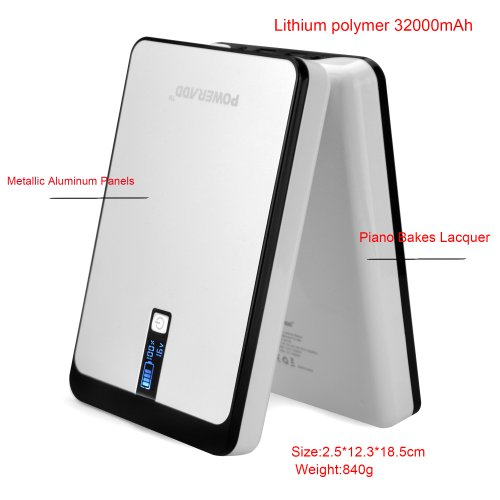 Poweradd Pilot Pro 32000mAh Power Bank Dual USB Port 4.5A (9V-20V DC Output) with Digital LCD Display for Smartphones, Tablets, Pocket PC, Notebook, Chromebook, Macbook and More by Poweradd (Image #1)