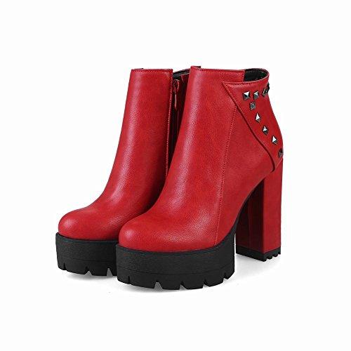 Charme Voet Dames Mode Platform Dikke Rits Klinknagel Hoge Hak Korte Laarzen Rood