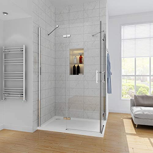 Cubículo de vidrio para ducha esquinera con puerta corredera doble, con base de ducha, 1000x700mm Shower Enclosure + Tray: Amazon.es: Hogar