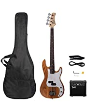 $139 » Electric Bass Guitar for Beginner, GP Electric Bass Right Handed 4 Strings 20W Bass Amp SS Pickup Bags Straps Picks Cables Wrench Tools, 4 String Bass Guitar for Starter
