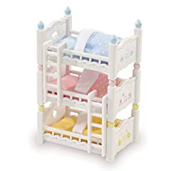 Calico babies love their cozy beds! Beds can be positioned in 3 fun ways. Stack them like bunk beds, arrange them like a pyramid or simply use them as 3 separate beds. Comes complete with 3 mattresses, 3 pillows, 3 blankets and 2 climbing lad...