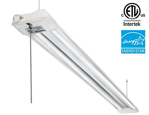 Basement Pull String Lights : 4ft 40W LED Utility Shop Light, 4000lm 120W Equivalent ENERGY STAR & ETL Listed, Double ...