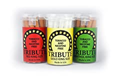 Tributes offer a smooth smoking experience. Available in Red, Gold and Menthol king sizes, Tributes look and burn like tobacco cigarettes but do not contain tobacco, nicotine or nitrosamines. Made entirely in the USA. Tributes offer a calming...