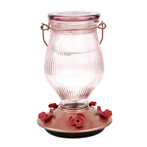 Premium Pack 9104-2 Rose Gold Top-Fill Glass Hummingbird Feeder Rose Gold 24 oz Capacity - Gold Hummingbird Feeder